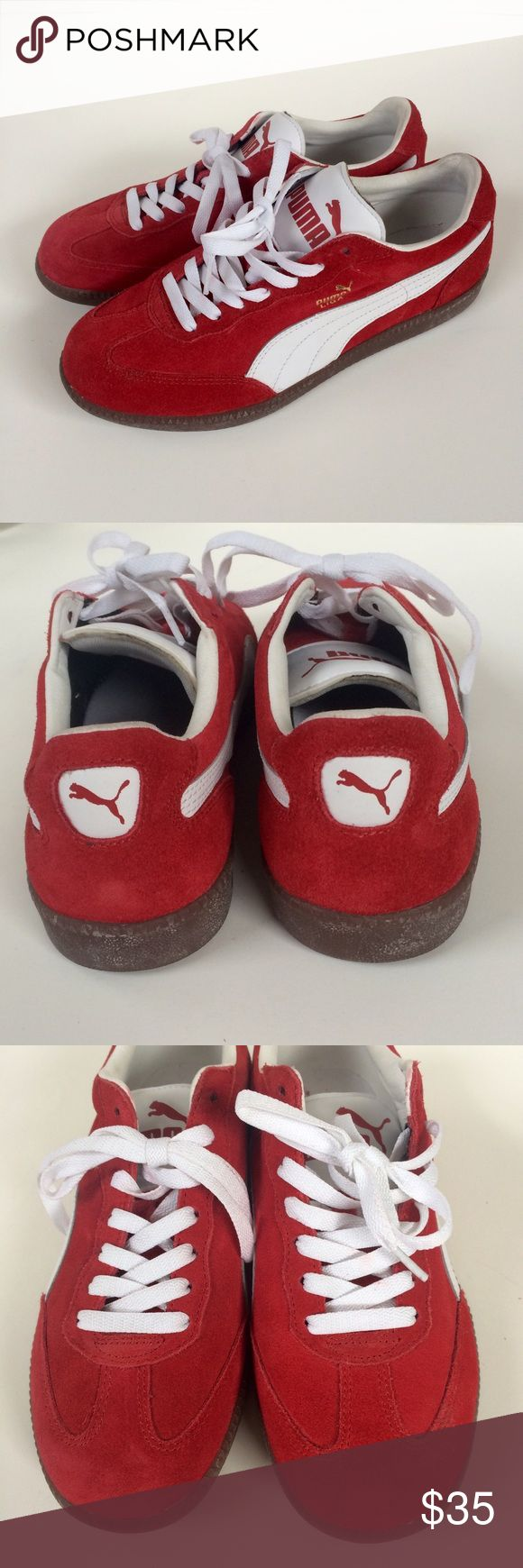 Host Pick Puma Liga Red and White Suede Shoes NWOT Puma Ladies Shoes in 8.5.  Never worn. Red suede.  Price is FIRM on this item. Puma Shoes Sneakers