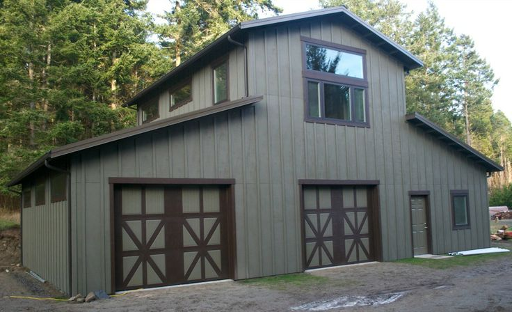 Monitor style garage shop on lopez island wa constructed for Monitor style barn plans