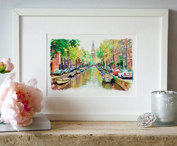 Amsterdam Canal Watercolor painting Wall art by Artsyndrome