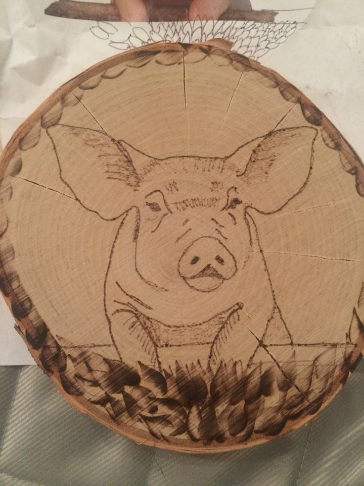Wood burning Use carbon paper to trace pig picture onto