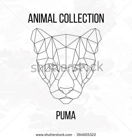 Geometric animal puma head line silhouette isolated on white background vintage design element image