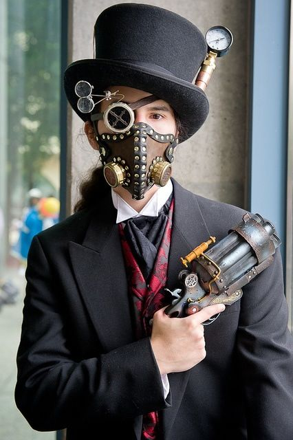 Steampunk Face Mask Goggle Lenses And Top Hat