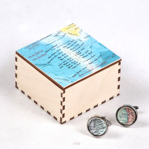 Map cufflinks and box - you choose the locations