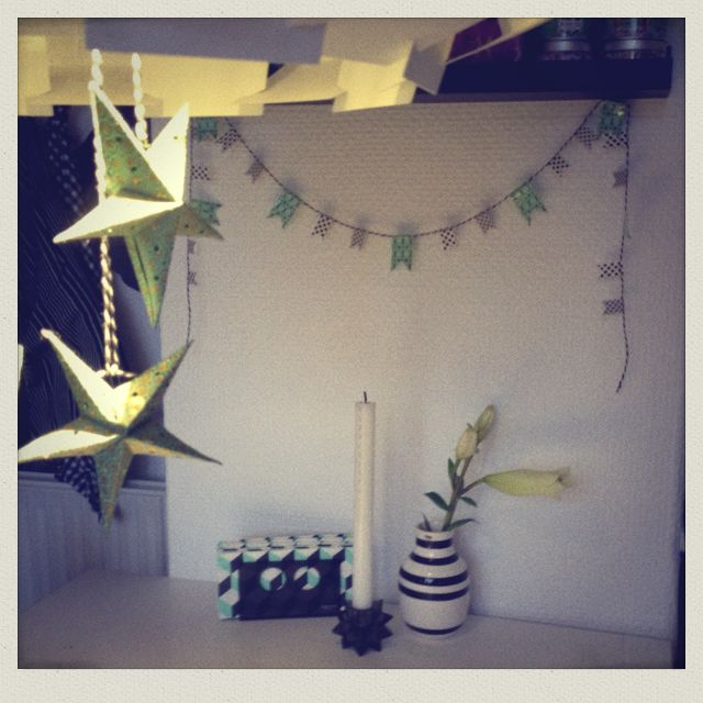 Mint for my kitchen... The garland on the wall I made from graphic pattern tape!