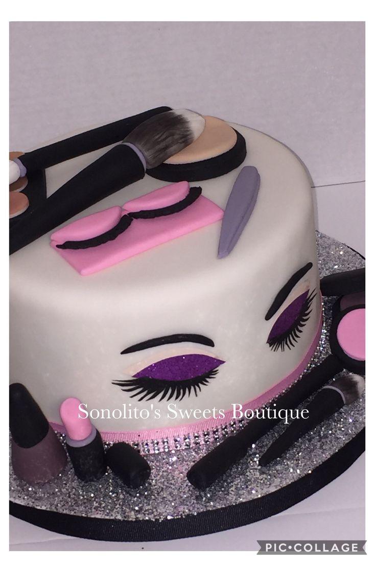 Makeup cake, MAC cake, diva cake, makeup and lashes cake