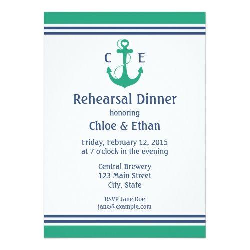 Green Nautical Rehearsal Dinner Invitations