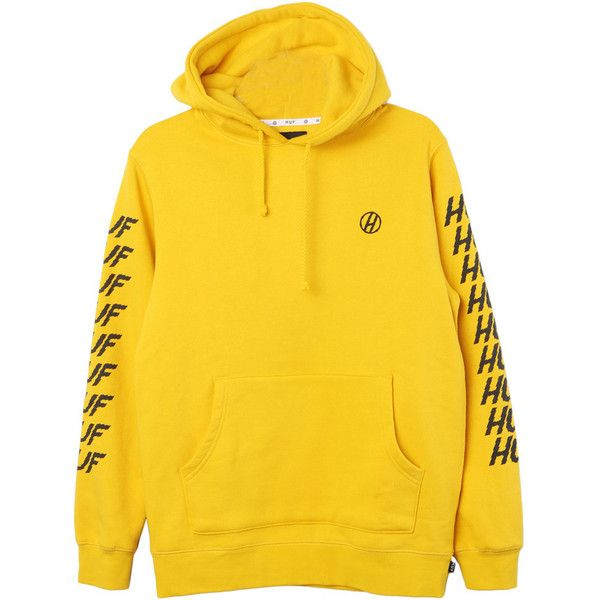 HUF Shocker Hoodie ($65) ❤ liked on Polyvore featuring tops, hoodies, huf hoodie, yellow top, hooded pullover, yellow hooded sweatshirt and sweatshirt hoodies