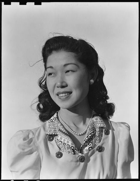Shizuco Setoguchi, Manzanar Relocation Center, 3 July 1942, Dorothea Lange, public domain via Wikimedia Commons.