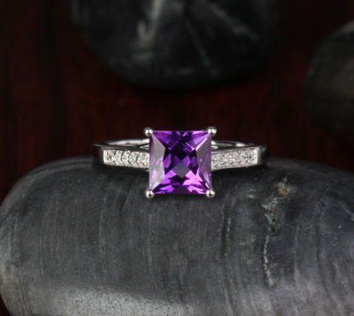 $459 Princess Amethyst Engagement Ring Pave Diamond Wedding 14K White Gold 7x7mm