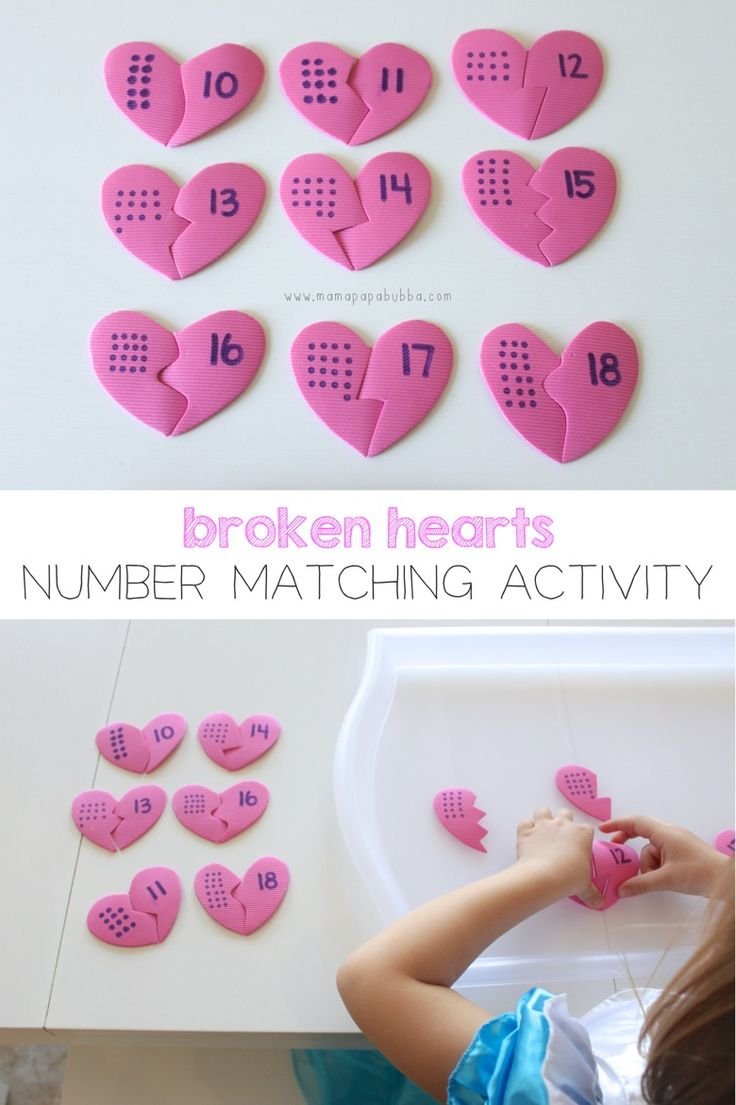 Super Simple Broken Hearts Number Matching Activity {all you need is craft foam, a Sharpie, and scissors!} | Mama.Papa.Bubba.