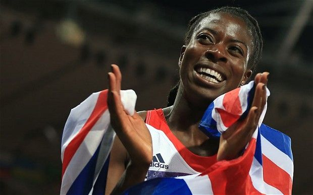 Christine Ohuruogu celebrates after winning the Silver medal in the Women's 400m Final at the Olympic Stadium on day nine of the London 2012...