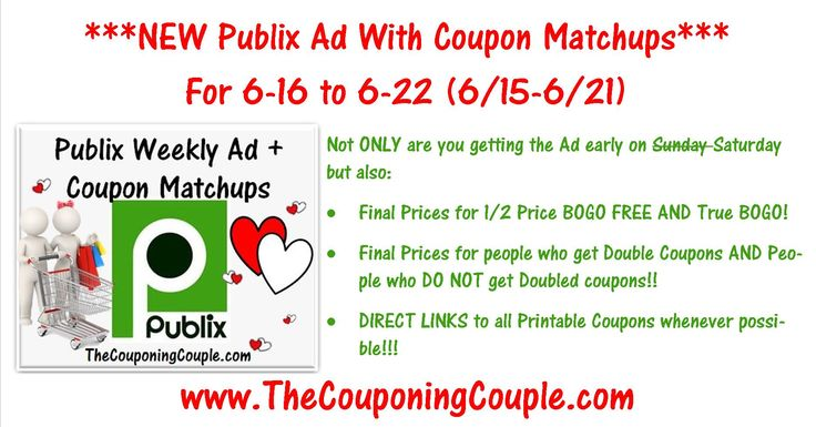 ***HERE YOU GO*** Please Use the SHARE button below the Picture and then leave a comment and let us know you shared it + it keeps it bumped in the GROUP! THANKS! Click the Picture below to check out the NEW Publix Ad with Coupon Matchups for 6/16 to 6/22 (6/15-6/21) ► http://www.thecouponingcouple.com/publix-ad-with-coupon-matchups-for-6-16/  Here is the Publix Ad with Coupon Matchups for 6-16 to 6-22 (6/15-6/21 for those whose ad begins on Wednesdays).  Not ONLY are