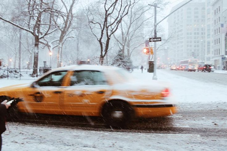 a new york minute, manhattan in january, new york city, nyc, snowfall, winter, travel, explore, yellow taxi cab
