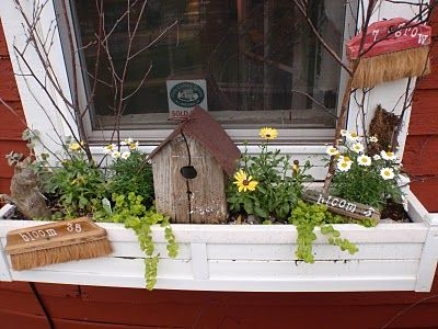 Window Boxes with a twist.  Too Cute!