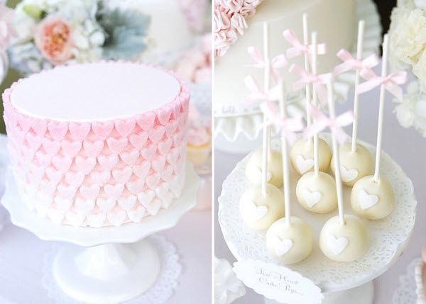 ombre sweetheart cake + cake pops