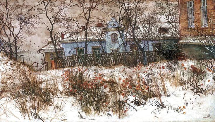 Евгений и Оксана Осиповы. Бархатцы, бумага,смешанная техника. Городской пейзаж. Владивосток.