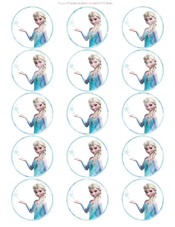 "DIY 15-2"" Digital Printable Cupcake Toppers, Disney Frozen Elsa Snowflakes Inspired, Instant Download"