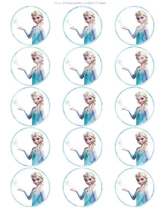 "DIY 15-2"" Digital Printable Cupcake Toppers, Disney Frozen Elsa Snowflakes Inspired, Instant Download"