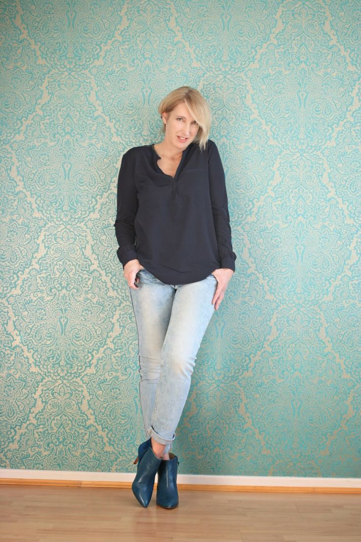 b ro outfit mit jeans und blauer bluse von nydj claudia steinlein pinterest outfit and jeans. Black Bedroom Furniture Sets. Home Design Ideas