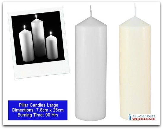Pillar Candles Dimensions: 7.8cm x 25cm Burning time: 90 hrs  Returns policy: After receiving the item, cancel the purchase within 14 days.  Return postage: Buyer pays return postage.