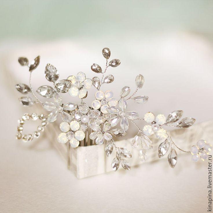 Гребень для свадебной прически невесты. Гребень нежный свадебный. - гребень свадебный, гребень для волос