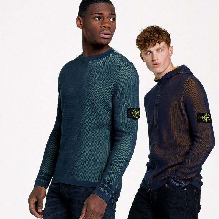 Stone Island SS'018_ Cotton Knits with two different coloured yarns on stoneisland.com