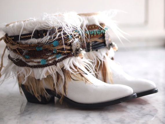 Upcycled REWORKED vintage feathered boho white by TheLookFactory