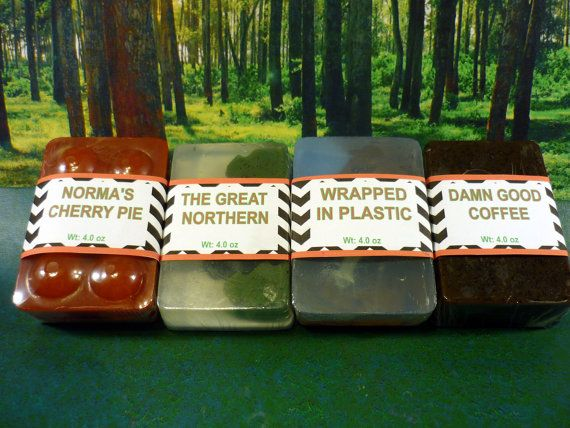 This set includes all four of my Twin Peaks Soaps - Normas Cherry Pie  The Great Northern  Wrapped in Plastic  Damn Good Coffee    And USPS Priority Mail Shipping    Please see individual soap listings if you want more info on a particular bar!    NOTES:    *** This soap bar is ready to be shipped within three business days of your payment receipt!    *** Vibrant or dark soap can stain light-colored linens. Use darker linens, or rinse light ones thoroughly after use.    *** Please read my…
