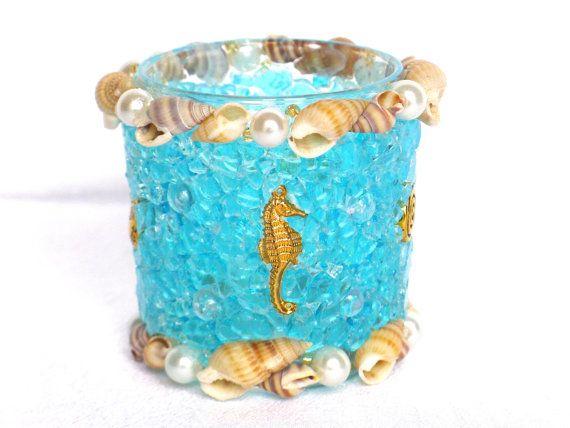 Muschel Windlicht türkis Teelichthalter Seepferdchen gold