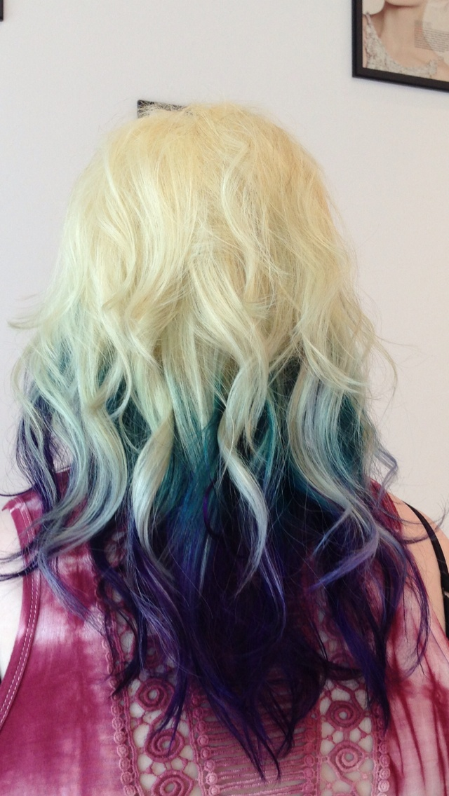 ombre blonde teal and purple hair hair by carrie jones. Black Bedroom Furniture Sets. Home Design Ideas