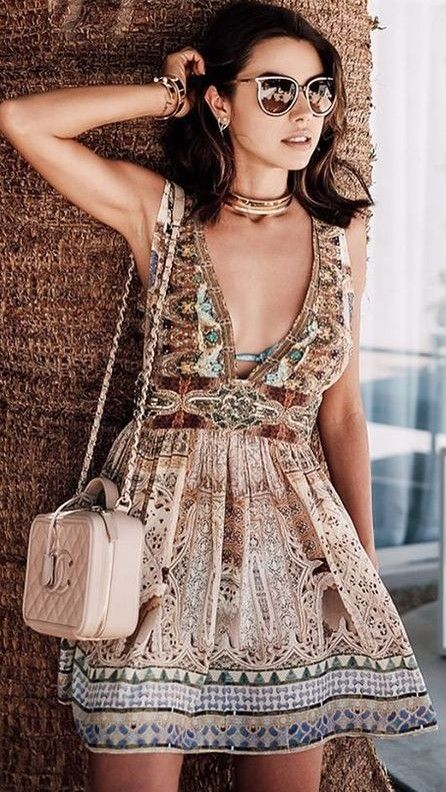 #summer #boho #chic #style | Vintage Print Maxi Dress