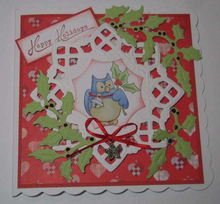 Eline's owl stamp coloured with Copics then die cut out and fixed to card created with Marianne die cuts and papers