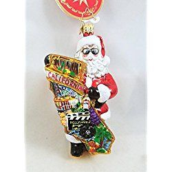 Los Angeles Christmas Ornament Radko Santa with Sunglasses A Hollywood Christmas California Glass Ornament