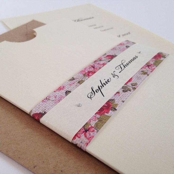 Floral Pocket Wedding Invitation, Pocket Invitation, Wedding Invites, Wedding Invitations by WholeCaboodleDesign on Etsy