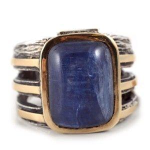 sortija joya de plata oro y cianita azul styliano www.sanci.es