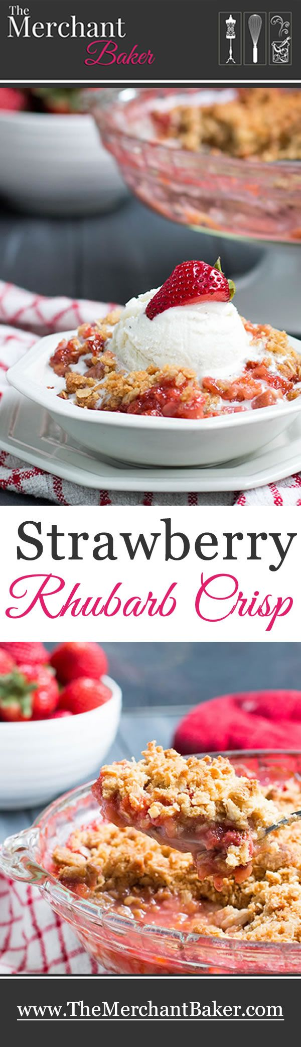 Strawberry Rhubarb Crisp. Fresh strawberries and tart rhubarb are topped with a sweet, buttery, crisp oatmeal topping for a delicious, easy to make dessert!