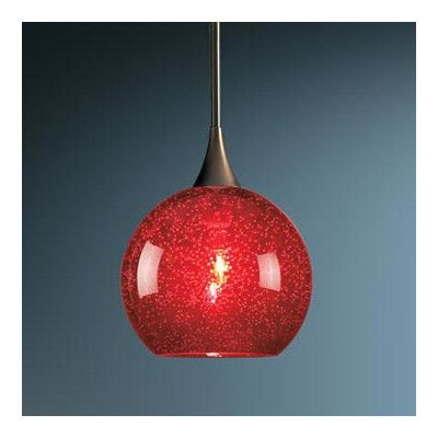 Alcott Hill Carvalho 1 Light Monopoint Pendant with Canopy Finish: Bronze, Canopy/Bulb type: No Canopy/LED, Glass Color: Red