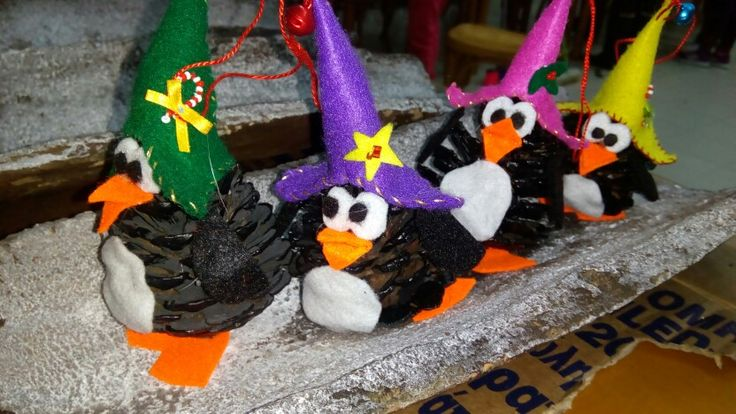 Laughing penguins Christmas ornaments