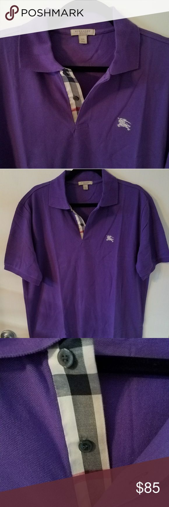 "BURBERRY Brit Mens polo XL BRAND NEW Purple 100% Authentic Burberry Brit polo Shirt.  XXL tag But That's in UK Sizing, but Equal to USA XL  BRAND NEW with no tags.  23.7"" Armpit to armpit. Please compare.  Better Price through PPal Text me  Eric 925-984-1655  Low-ball offers will be ignored, sorry no trades  If you have an offer, make an offer, don't comment and ask if I'll take a certain amount.  Thanks Burberry Shirts"