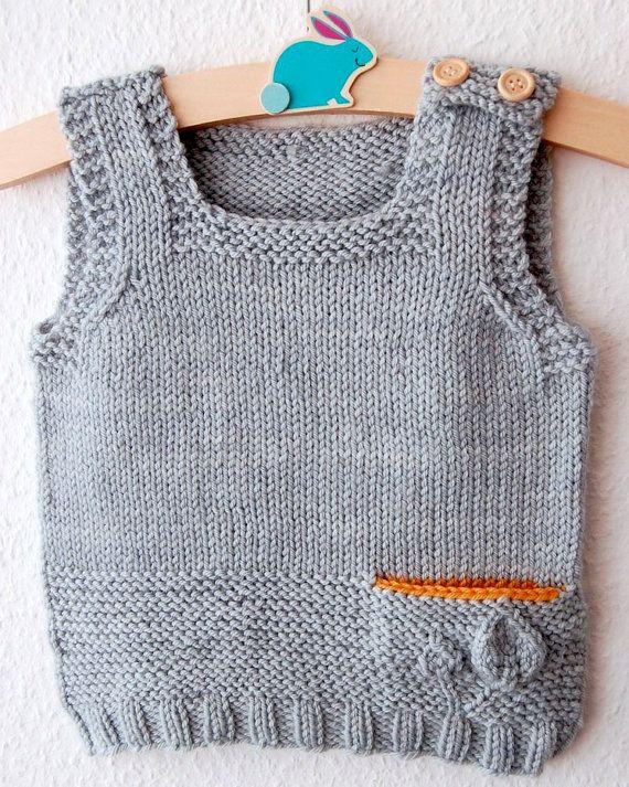 Petites Feuilles Vest PDF knitting pattern by frogginette on Etsy