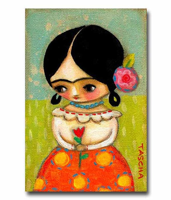 ORIGINAL cute little FRIDA Kahlo with tulip acrylic painting on canvas by tascha