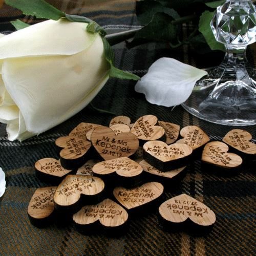 Wooden Rustic Wedding Decorations: Details About Personalised Oak Love Heart Table