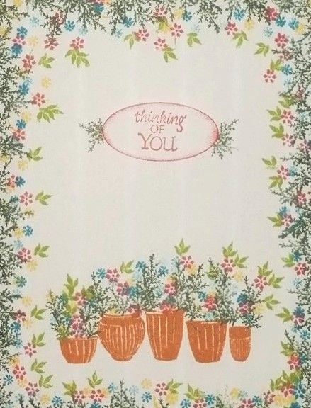 Thinking of You card by Scrappigators featuring Rubber Stamp Tapestry's Pottery Garden Peg Stamp Set.