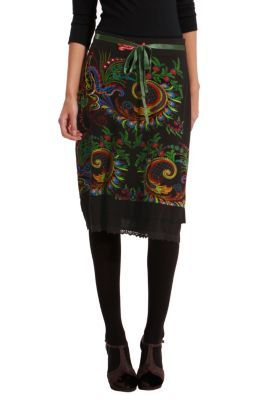 Desigual women's Mila A-line skirt. Elasticated waistband, lace hem and satin bow at the waist.