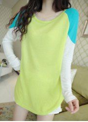 $7.00 Sweet Round Collar Three Colors Splicing Long Sleeves Sweater For Women