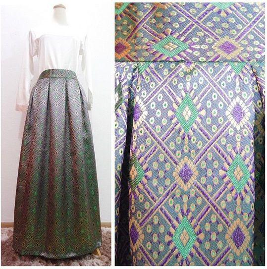 Midnight Green Songket Skirt
