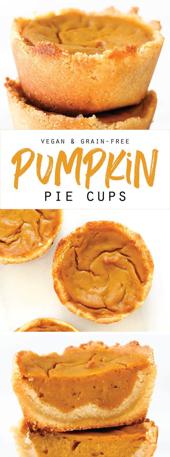 These easy healthy Vegan and Grain-Free Pumpkin Pie Cups are just like your favorite fall or Thanksgiving dessert but in a smaller 6 ingredient form!