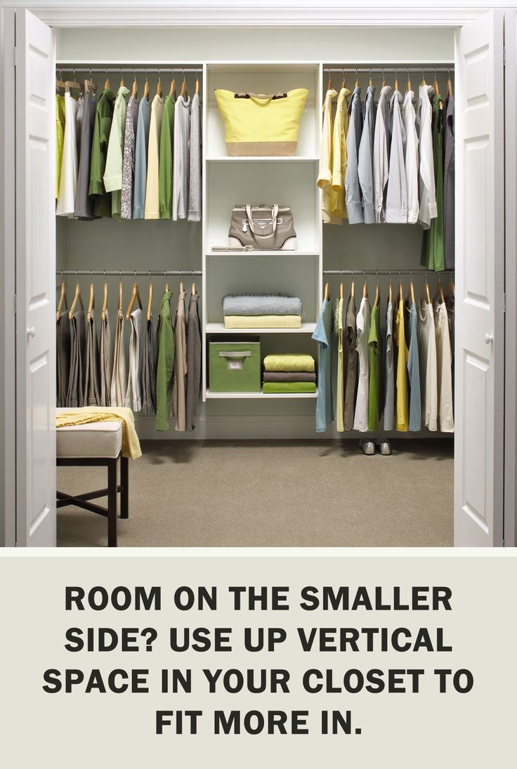 #StorageTips via @ms_living: Room on the smaller side? Use up vertical space in your closet to fit more in. #Storage #Organization