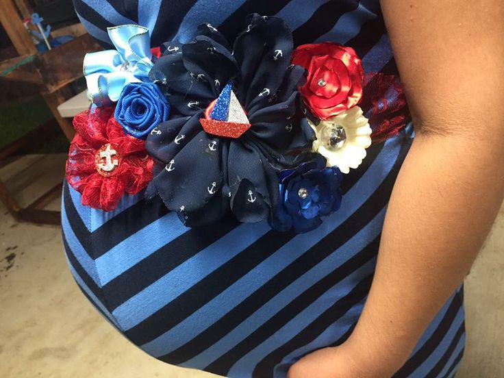 $30 includes shippingBaby shower nautical Theme boy blue and red boat pregnancy sash belly band