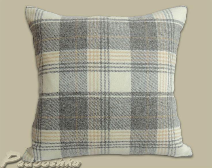 Luxurious soft grey tweed cushion cover tartan style by Padooshka, £20.00